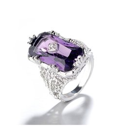 China Cross-border for European and American mosaic chamfered rectangular amethyst princess ring suppliers
