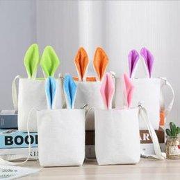 Orange green handbag online shopping - Easter Rabbit Ear Handbag Cartoon Canvas Kids Tote Gift Bags Shoulder Bags Outdoor Travel Totes LJJO6245
