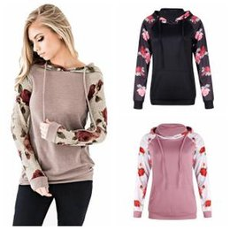 Wholesale Floral Drawstring Hoodie Women Patchwork Casual Long Sleeve Sweatshirt Pockets Tops Autumn Pullover Outdoor Hoodies OOA6339