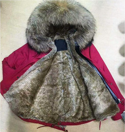 Wholesale New listing Brown raccoon fur trim Meifeng brown rabbit fur lining red mini parkas with ykk zipper women snow jacket