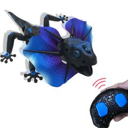 Control toys online shopping - IR RC Frill Necked Lizard Toy Induction Extendible Frill Dragon Lizardbot Modes Remote Radio Control Animal Prank Toy GGA1434
