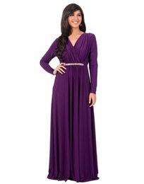 Discount purple evening maxi skirt - Women's party dress long sleeve V-neck evening dresses elegant High Waist Formal Party Long dresses 2018 top qualit