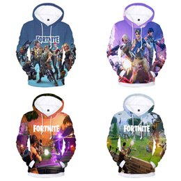 Wholesale Fortnite Printed Hoodies Kids Adult Cartoon Sweatshirts Polyester Plus Velvet Warm Long Sleeve Coat Pullover Hoodie Family Matching Outfits