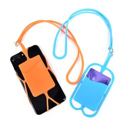 China Credit ID Card Bag Holder Silicone Lanyards Neck Strap Necklace Sling Card Holder Strap For iPhone X 8 Universal Mobile Cell Phone cheap wholesale card phone holder suppliers
