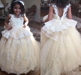 Children gold dress sashes online shopping - 2019 New Cheap Champagne Flower Girls Dresses For Wedding Lace Sleeveless Backless Floor Length Party Birthday Dress Child Pageant Gowns