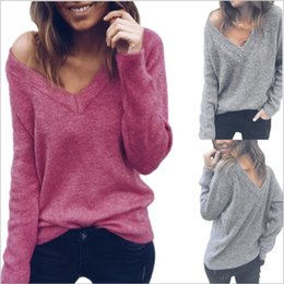 Wholesale Women Clothes Knit Blouse Loose Casual Shirt V Neck Long Sleeve Tops Fashion Outerwear Coat Jackets Vestidos Costume Women Clothing B4188