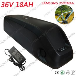 Discount 36v lithium battery for electric bikes - 500W 36V 18AH Hailong tube E-bike Lithium ion Battery use for SAMSUNG 3500MAh power cell 36V 18AH Electric Bicycle Batte