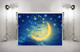 Discount photography backdrops night - Twinkle Twinkle Star Photography Background Night Sky Moon Baby Shower Birthday Party Banner Newborn Photo Backdrop xt-7