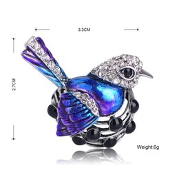 Discount egg shirt - Brooches Blucome Fashion Bird Hen Laying Eggs Shape Brooch Full Crystals Blue Enamel Brooches Women Kids Shirt Coat Clip