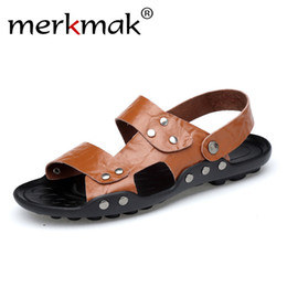 platform rubber slippers 2019 - Merkmak Large Size 36-48 Summer Men Fashion Casual Sansals 2018 New Designer Men Beach Slippers Soft Breathable Vacation