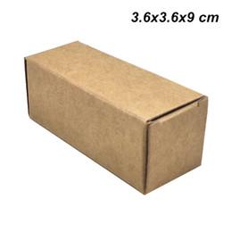 Discount kraft box bottle - 50 Pcs lot 3.6x3.6x9cm Brown 30 ML Kraft Paper Crafts Essential Oil Bottle Packaging Box Perfume Cosmetic Nail Polish Sm