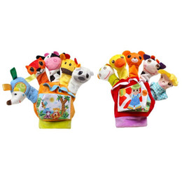 China Cute Cartoon Animal Finger Doll Hand Puppets Glove Plush Toys with Cloth Baby Early Education Comfort Toy cheap animal comfort dolls suppliers