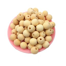 Wholesale 17mm beads online shopping - 100 mm x mm Wooden Beads Unfinished Natural Screw Thread Bead Stripe Ball Shaped DIY Wooden Fitting
