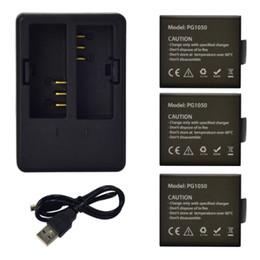 Discount sjcam battery - 3x 1050mAh for SJCAM SJ5000 battery+ Dual Battery Charger SJ4000 SJ5000x M10 dbpower ex5000 Soocoo Gitup Git2 Action Cam