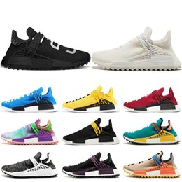 Racing shoes men online shopping - Human Race Hu trail pharrell williams men running shoes Nerd black cream Holi mens trainers women designer sports runner sneakers size