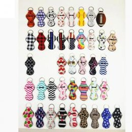 Wholesale leopard keychains online shopping - Neoprene Chapstick Holder Sports Balls Leopard Rainbow Printed Lip Balm Wrap Keychian Wrap Carry Case Party Favor OOA6227
