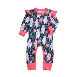 Wholesale Uniform clothes European and American foreign trade explosive children s wear Bear printed long sleeved hatchwear baby bottom crawling cloth
