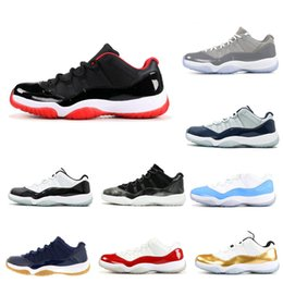 Discount varsity cherry 11 With Box 11 11s Low Bred Closing Ceremony Navy Gum Basketball Shoes Men Women 11s UNC Cherry Varsity Red Emerald Barons
