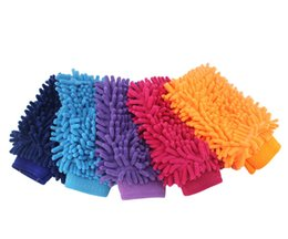 Microfiber chenille hand towel online shopping - Car hand soft towel microfiber chenille washing gloves coral fleece gloves auto clean tool many colors