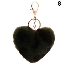 Wholesale leopard keychains online shopping - Love Heart Pompom Ball Keychains Leopard Print Women Bag Pendant Car Key Ring Chain M23