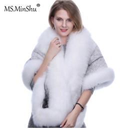 Fashion mink Fur shawl online shopping - MS MinShu Mink Hair Shawl Fox fur trim Winter Women Fashion Poncho Fox Fur Trimmed Cape Winter Cape Female