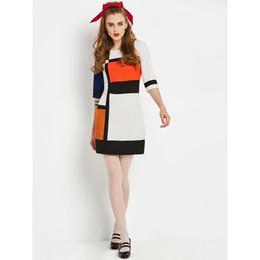 Discount sweet girl school - Mini Dress Women White Color Block Modern Fashion Brand Spring 2019 Sweet Elegant Slim School Street Girl Casual Short D