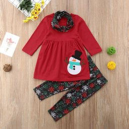 Wholesale Christmas Outfit Toddler Baby Girl Long Sleeve Snowman T Shirt Dress Snowflakes Pants Fall Winter Clothes Set