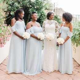 Wholesale 2019 Simple Chiffon Off Shoulder Bridesmaid Dresses Plus Size Ruffles Long Maid Of Honor Gowns For Wedding Cheap Blue Bridesmaid Dresses