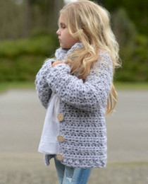 Wholesale Grey Sweater Coat Children Kids Baby Girls Outfit Button Knitted Sweater Cardigan Coat Clothes