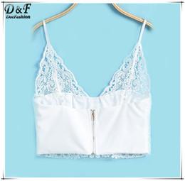 del verano nuevos atractivos recortada tops diseador de moda ocasional llano blanco slido del tirante de espagueti de la ropa interior de encaje camis