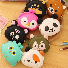 Discount silicone animal coin purses - Wholesale- 2016 New Fashion Lovely Kawaii Candy Color Cartoon Animal Women Girls Wallet Multicolor Jelly Silicone Coin B