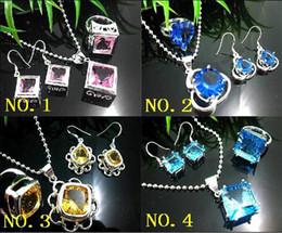 Discount rhinestone ring bracelet set - Artistic Pink Topaz Crystal Gemstone 925 Silver necklace earring rings set gems set