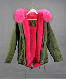 Mr & Mrs Italy Furs mini Parkas Real Raccoon Fur collar rabbit fur Liner Women Green Jacket