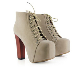 2011 trendy high heel platform wooden heel boots 4 colors comfortable lace up boots