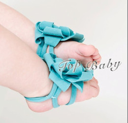 5pcs New ! TOP BABY Baby Foot Flower Feet Band Foot Ties Barefoot Sandals Baby First Walker Shoes