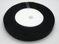 Wholesale black organza roll for sale - 10 Rolls cm Black color Organza Ribbon Bridal Decor Edge Gift Jewelry Roll yds