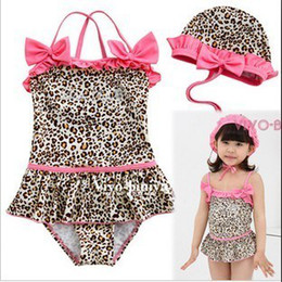 1pcs lot Children Sexy Leopard Print Swimwear Pink Bow Baby Girls Swimsuits kid's bathing suits