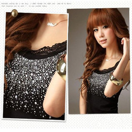 Free Shipping Women's Black Cotton T-shirts Fashion Lace Beaded Tank Tops Shirt Clothes wear
