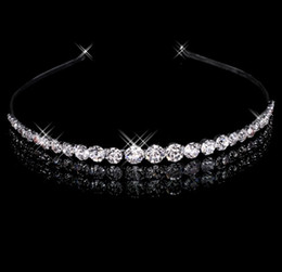 Best Selling Sparking One Row Rhinestone Clear Crystal Tiara Headband for Wedding Party Hair Accessories Bridal Jewelry Free Shipping