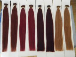 "100g 18"" 20"" 22"" 24"" Keratin Stick I Tip Human Hair Extensions INDIAN REMY 99j# burg# 33# 30# 030"