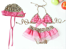 Girl's swimsuits 2016 new arrive Princess Leopard Bikini swim suit Girl's Bikini + swim skirts + hat
