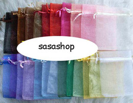 Free Shipping 100pcs 7x9 cm Mix Color Nice Chinese Voile Christmas / Wedding Gift Bag Organza Bags Jewelry Gift Pouch