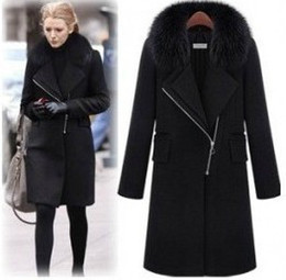 2013 new monde OL slim women's coats women's trench coats Straight type women's coats Fur collar Women's Outwear woolen coat black
