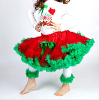 Wholesale green costumes girls for sale - baby girl kids Christmas pettiskirt christmas tutu skirt fluffy red green tutu costume chiffon p