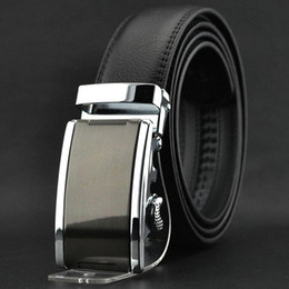 S5Q Fashion Luxury Men's Automatic Buckle Split Leather Waist Strap Belts Black AAACEA