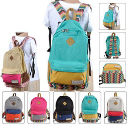 S5Q Boy's Girl's Unisex Backpack Patchwork Sweet Canvas School Bag Rucksack AAACLK