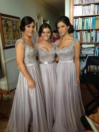 Silver chiffon lace Custom made 2014 New Big Discount cap sleeve long Bridesmaid Dresses formal dresses with ribbon sop04