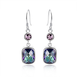 925 sterling silver Plated Fire Multi-Colored Mystic Topaz Drop earrings eardrop earbob women fashionable Jewelry E0547