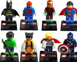 SY180 Super Heroes The Avengers Iron Man Hulk Batman Wolverine Thor Building Blocks Sets DIY Bricks Toys without package box