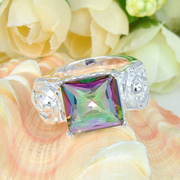 2015 Limited Top Fashion Bohemian Rotary Table Tapered Bearing Cone Stone Ring Jewelry 925 Silver Romantic Mystic Topaz #7 #7.5 #8 #9 R0070